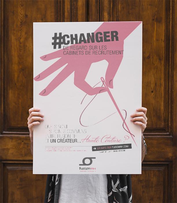 fusion rh, création affiche publicitaire