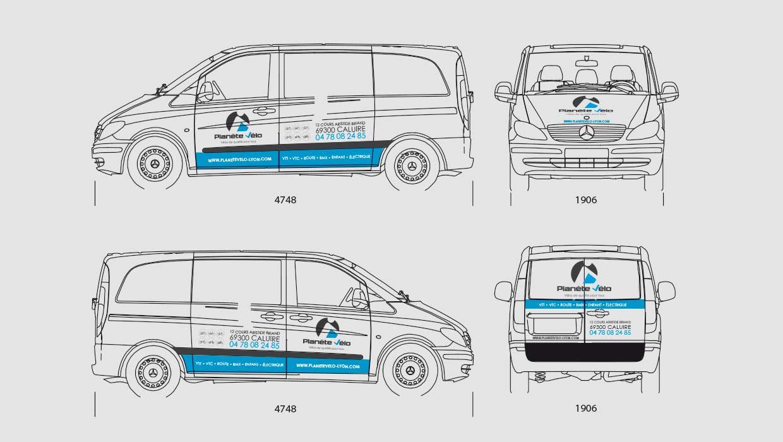 Planète Vélo, Lyon, Caluire, Création marquage véhicule